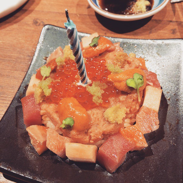 LOL! Sashimi cake from #Teppei! Got pranked earlier and had wasabi in my creamed Edamame lololol!