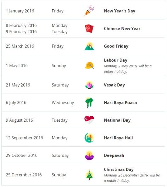 Public Holidays 2016